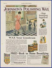 Vintage 1924 JOHNSON'S Polishing Wax Floor Polish Art Décor 20's Print Ad