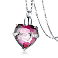Women Pendant Necklace Ash Urn Crystal Love Heart Cremation Memorial Keepsake