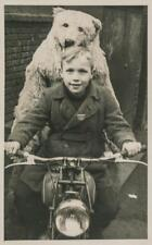 Old Photo.  Boy & Person in Polar Bear Costume on Motorcycle