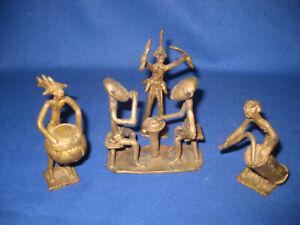 Five Vintage African Figurines  Akan Ashanti Tribal Art Bronze / Brass.
