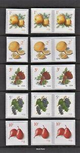 US Postage - Fruit Coil Single & Pair, Apple, Strawberry, Lemon, Grape & Pear