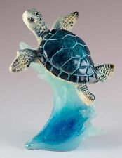 Blue Sea Turtle On Wave Figurine 4.5 Inch High Resin New In Box