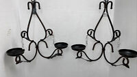 Candle Holder Sconce Black Iron Scroll Crystals Wall Hanging Decor Set Of 2