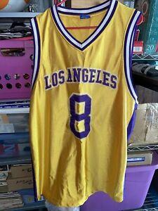 Kobe Bryant Jersey 2X Gold #8 NBA Los Angeles Lakers Athletic Series Sportswear