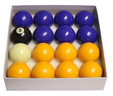 Boules de billard, Jeu billes billards 8 pool jaunes et bleues 50.8 mm