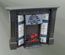 The Corbell Cast Iron Finish Fireplace with Bulb (F2C) Dolls House Miniature