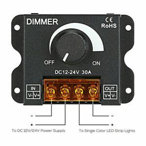 Manual Dimmer Knob Controller DC 12V-24V 30A for Single Color LED Strip Light