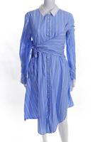 Jonathan Simkhai Womens Asymmetric Wrap Oxford Dress Blue Size L 11525915