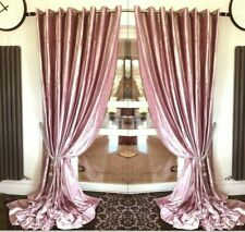 Crushed Velvet Curtains Eyelet Ring Top thick long Ready Made Lined MAUVE