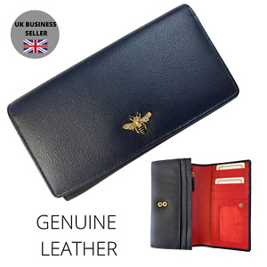 Mala Leather Matinee Premium Leather Purse Navy bumble bee BEES
