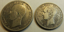 Greece King George A' PAIR (ONE 1 & Two 2) Drachma 1883 Silver Coin RARE DATE!!