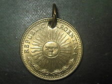 SOL ARGENTINA GOLD BRASS TONE SUN FACE COIN PENDANT CHARM NECKLACE