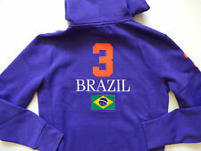New Ralph Lauren Polo Big Pony Purple Brazil Cotton Blend Fleece Hoodie Jacket M