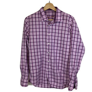 Robert Graham Button Up Shirt Boys Sz 18 20 Purple Long Sleeve I21