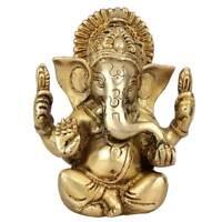 "Ganesha Statue Ganpat Idol Vintage Brass Diwali Decor Corporate Wedding Gift 5"""