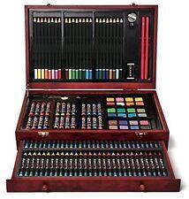 142-Piece Wood Art Set - Sturdy Protective Case w/ Crayons Pastels & Pencils