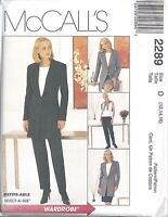 McCall's Sewing Pattern #2289 Misses Lined Jacket Top Pants Skirt Size 12-14-16