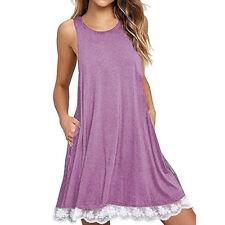 2018 Summer Womens Ladies Sleeveless Lace Casual Dress Loose Beach Short Dresses