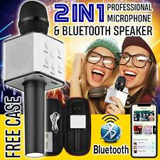 Bluetooth Wireless Mini 2 in 1 Karaoke Q7 Microphone Speaker USB KTV Player US