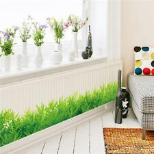 Fashion Kids Bedroom Kitchen Removable Decor Grass Skirting Line Wall Sticker HY