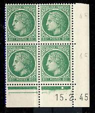 FRANCE - 1945 - N°675 80c MAZELIN COIN DATÉ du 15.2.45 (1 point blanc) - TB