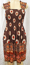 Womens Sun Dress Sexy Summer Boho Beach Dresses Mid Length Adult SMALL New