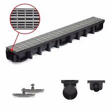 1m Entwässerungsrinne für modulares System A15 98mm, komplett Grau Line