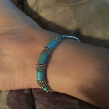 Plated Stretchy Chain Foot Jewelry Bracelet Fake Turquoise Ankle Gemstone