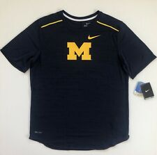 Michigan Wolverines Nike College Player Dri-FIT Navy Performance Shirt Top Large