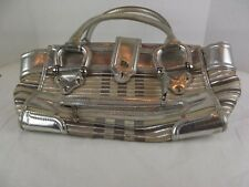 Authentic Burberry Tote Large Purse Silver Handbag