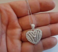 925 STERLING SILVER HEART LOCKET NECKLACE PENDANT W/ ACCENTS / SIZE 29MM BY 24MM