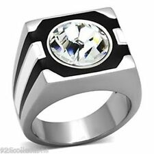 12 mm Solitaire April Clear Crystal Stone 316 Stainless Steel Men Ring Size 11