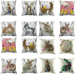 Easter Festival Rabbit Pillow Case Sofa Bed Home Decoration Cushion Waist Cover