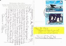 GAMBIA 1987 POST CARD EX SEREKUNDA TO SWEDEN