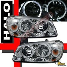 Chrome Dual Halo Angel Eyes Headlights For 2000 2001 Nissan Maxima SE GLE GXE