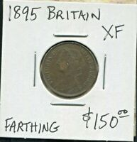 GREAT BRITAIN - FANTASTIC HISTORICAL QV BRONZE FARTHING, 1895, KM# 753