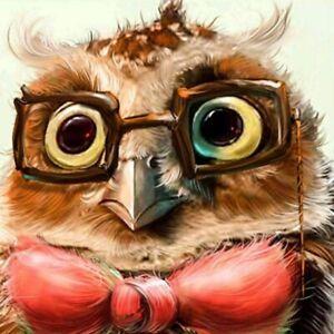 5D Diamond-Painting Full Drill Owl Wearing Glasses Decoration Cross Crafts Kits