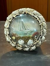 1800s Sailors Valentine Victorian Shell Art Bubble Glass seashell frame