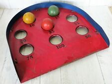 Antique 1920s Pressed Steel Red/Blue Skee Ball Game with 3 Wood Balls Skill-Ball