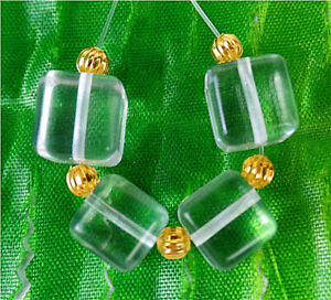 10mm 4Pcs White Crystal Glass Cube Height Hole Pendant Bead BV56487