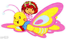 """9"""" Strawberry shortcake butterfly fabric applique iron on character"""
