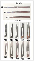 50Pcs Disposable Sterile Surgical Scalpel Blades+1Pc Blade Handle Dental Medical