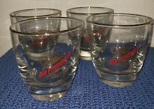 x4 VTG OLD FITZGERALD 100 Proof Rocks Glass Bourbon Whiskey Gold Stitzel Weller