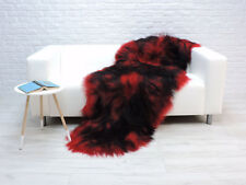 BEAUTIFUL REAL ICELANDIC DOUBLE SHEEPSKIN RUG RED BLACK DYED COLOUR - RBD