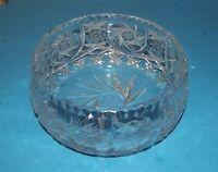 "Bohemian Cut Glass Crystal Pinwheel Etched Star Bowl about 7""x3.5 Poland Vintage"