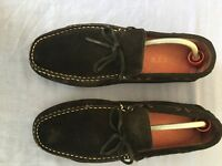 Poste Men Black Genuine Suede Leather Loafers Size 7