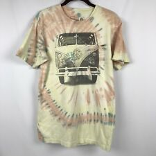 VOLKSWAGEN VW Mens T-shirt VW Bus Tie Dye Yellow Orange 100% Cotton Medium GUC
