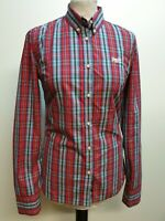 CC145 WOMENS SUPERDRY RED BLUE GREEN CHECK PLAID L/SLEEVE SLIM FIT SHIRT UK S 8