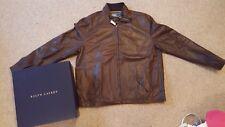 Genuine Ralph Lauren Men's Brown Leather Jacket Size 2XL (UK XL) RRP £499.99