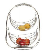 Obstkorb Etagere Obst-Schaukel Gemüsekorb Metall Küche Obstschale modern silber